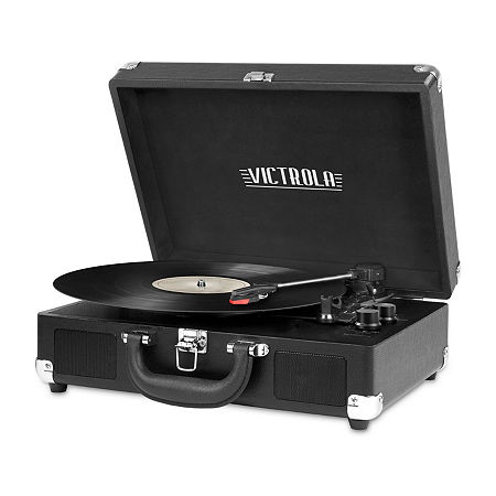 Victrola VSC-550BT 3-Speed Vintage Bluetooth Suitcase Turntable with Built-In Stereo Speakers, One Size , Black