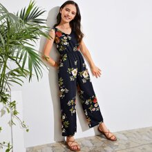 Girls V-neck Tie Back Floral Print Palazzo Jumpsuit