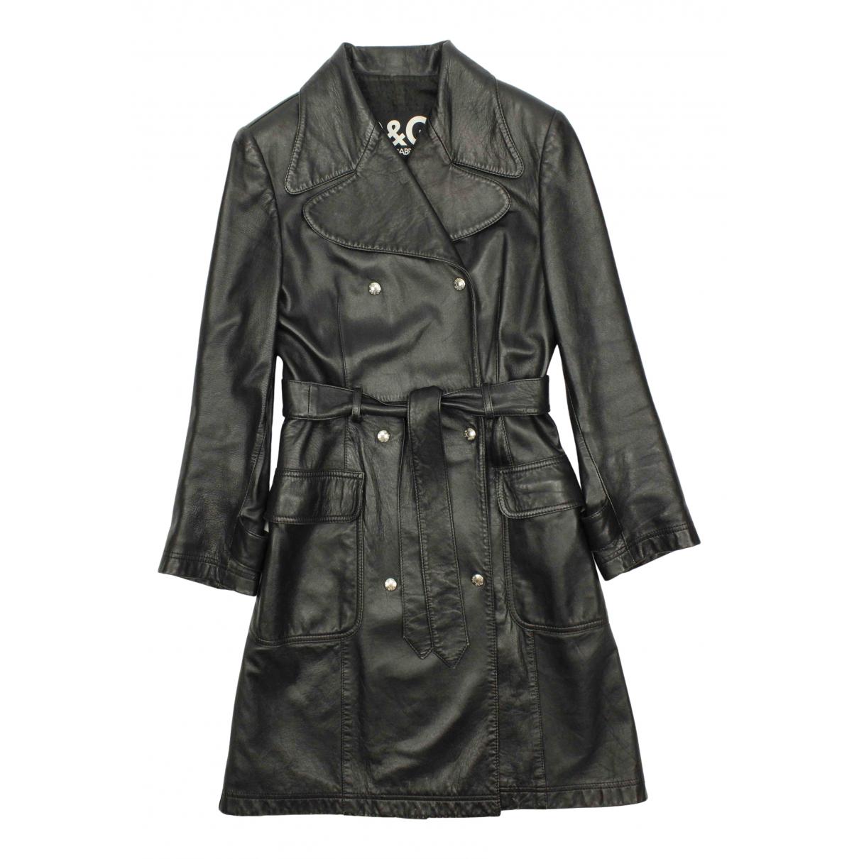 Dolce & Gabbana - Trench   pour femme en cuir - noir