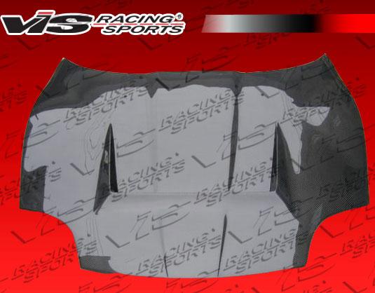 VIS Racing 95MTFTO2DVS-010C Invader Style Black Carbon Fiber Hood Mitsubishi FTO 95-00