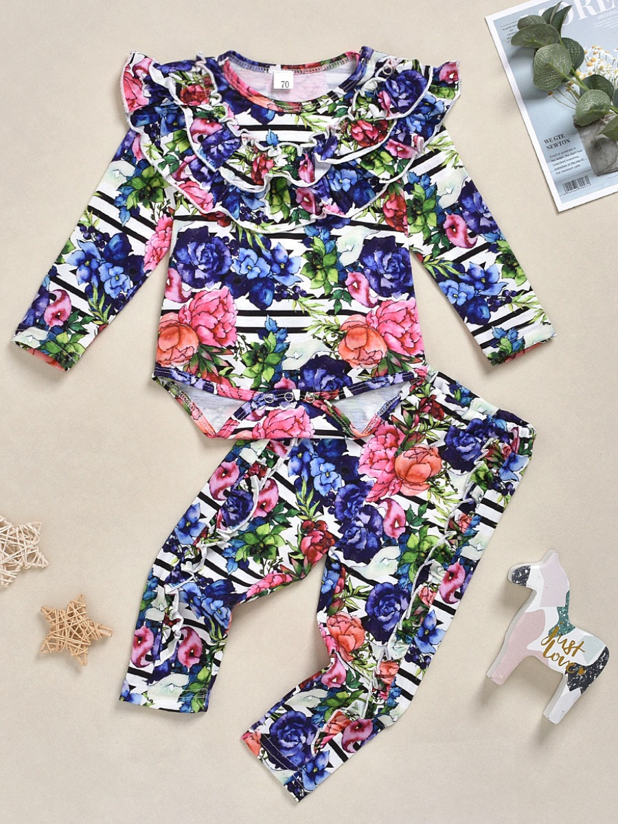 LW lovely Casual O Neck Floral Print Multicolor Girl Two-piece Pants Set