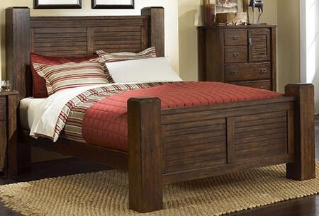 Trestlewood P611-34-35-77 Queen Sized Post Bed with Headboard  Footboard and Side Rails in Mesquite