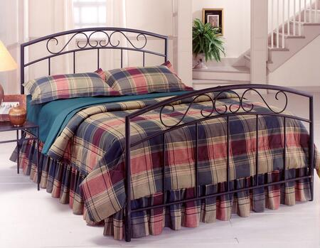 Wendell Collection 298BFR Full Size Bed with Headboard  Footboard  Rails  Decorative Metal Scrollwork and Open-Frame Arched Panel Design in Textured