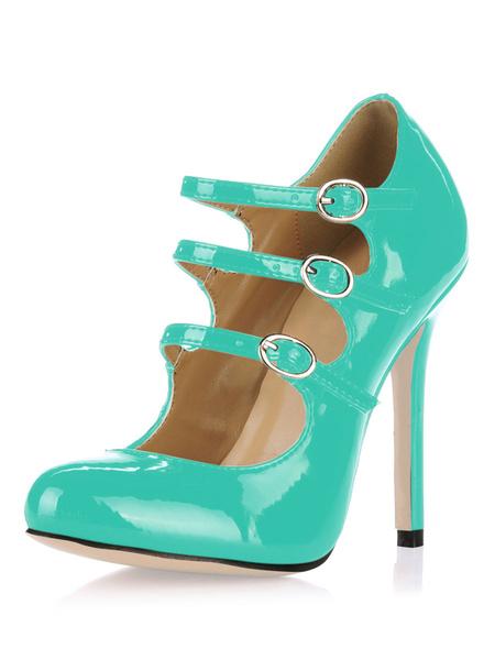 Milanoo Black Patent Leather High Heels