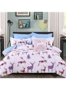 Adorila 60S Brocade Deer Shape Plaids Combination Design 4-Piece Cotton Bedding Sets