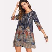 3/4 Sleeve Tribal Print Tunic Dress