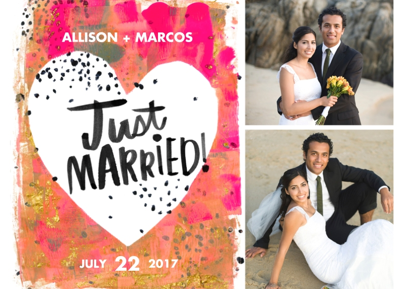 Just Married 5x7 Cards, Premium Cardstock 120lb with Rounded Corners, Card & Stationery -Painterly Just Married