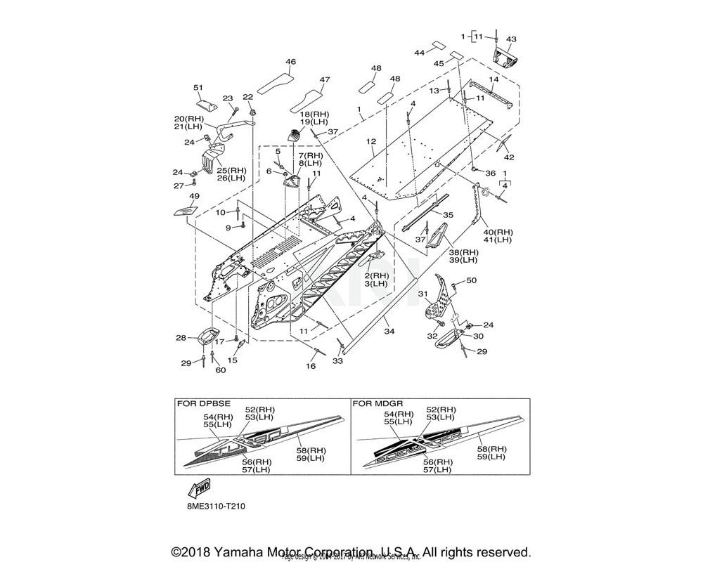 Yamaha OEM 8JR-F1944-00-00 BRACKET, REAR TRACK SUSPENSIO