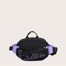 Letter Graphic Buckle Decor Fanny Pack