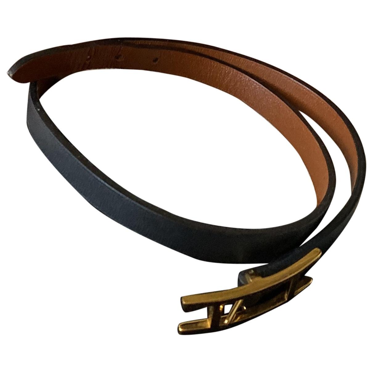 Hermes - Bracelet Behapi pour femme en cuir - noir