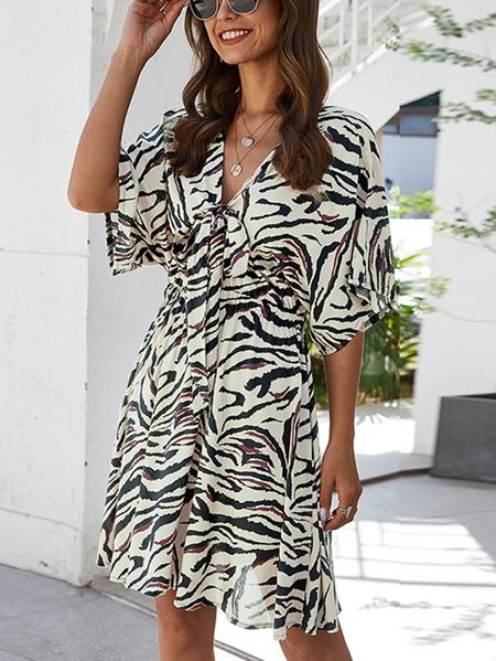 Yoins Bowknot Zebra Stripe V-neck Short Sleeves Stretch Waistband Dress