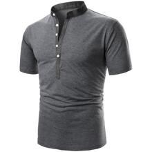 Men Button Front Polo Shirt