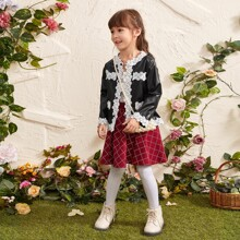 Toddler Girl Contrast Lace PU Jacket