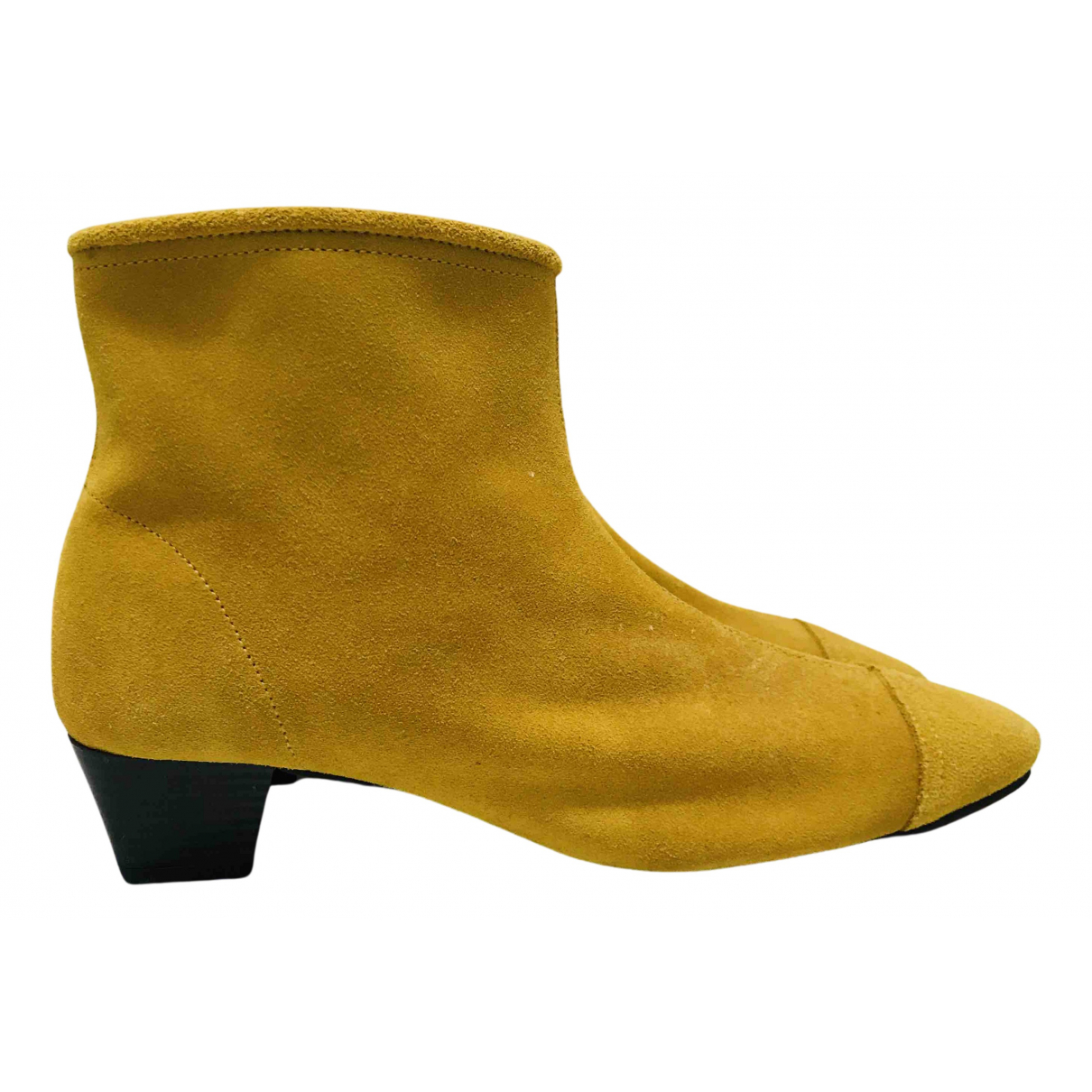 Non Signe / Unsigned \N Stiefeletten in  Gelb Veloursleder