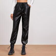 PU Leder Hose mit Knoten auf Taille und schraegen Taschen