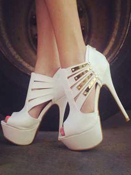 Milanoo Zapatos de tacon alto con plataforma Tacon de aguja Peep Toe Zapatos sexy