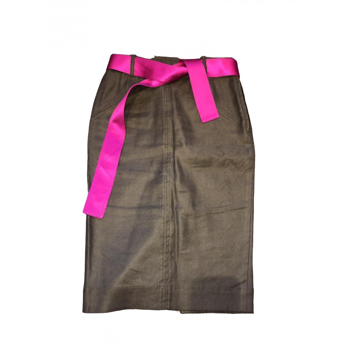 Diane Von Furstenberg \N Khaki Linen skirt for Women 4 US