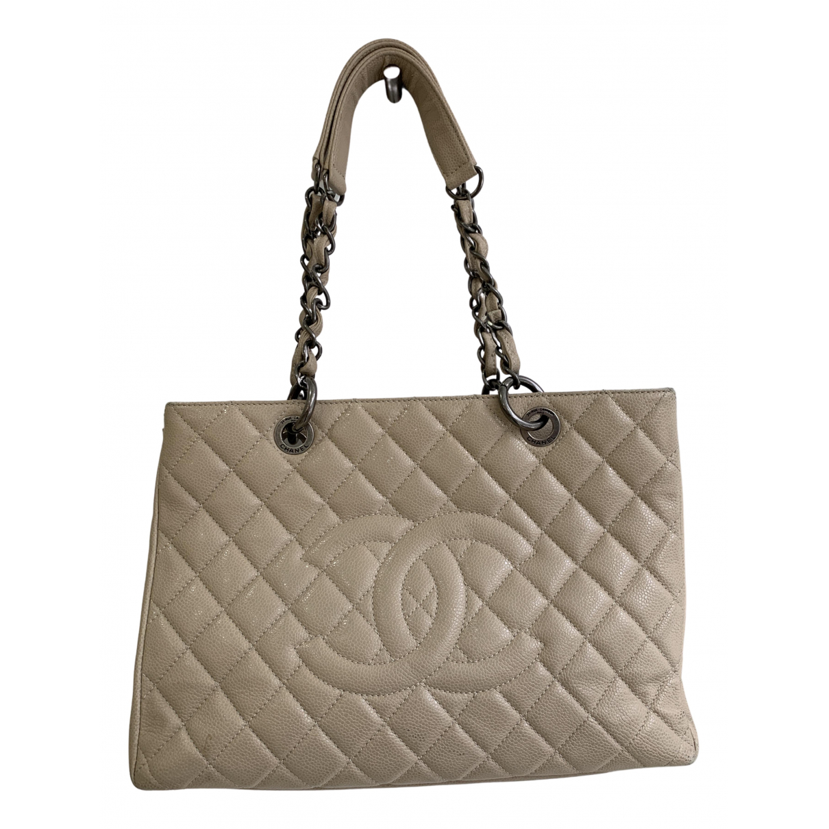 Chanel Grand shopping Beige Leather handbag for Women N