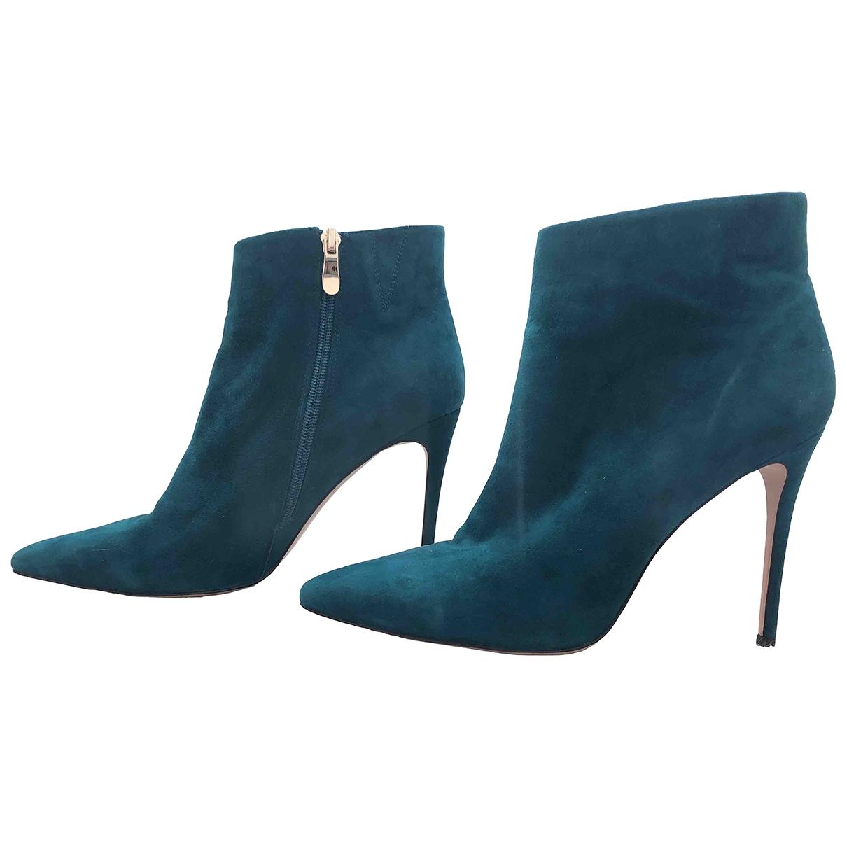- Boots   pour femme en cuir - vert