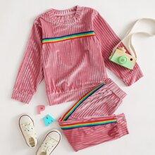 Toddler Girls Rainbow Stripe Sweatshirt & Sweatpants