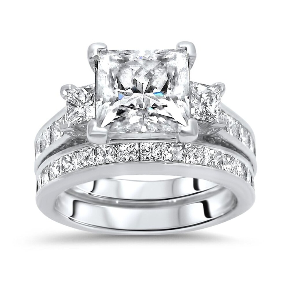 14k White Gold 2.40ct Princess Cut Moissanite and 2.0ct Diamond Engagement Ring Bridal Set (8)