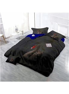 Black Swan Wear-resistant Breathable High Quality 60s Cotton 4-Piece 3D Bedding Sets