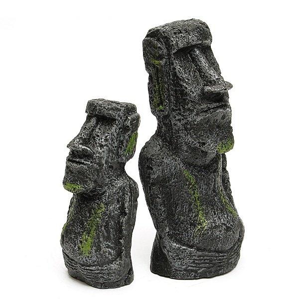 2PCS Easter Island Statues Fish Tank Ornament Aquarium Decoration Craft Figurines