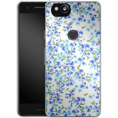 Google Pixel 2 Silikon Handyhuelle - Blue Blooms von Mukta Lata Barua
