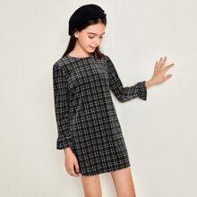 Girls Plaid Ruffle Cuff Velvet Dress