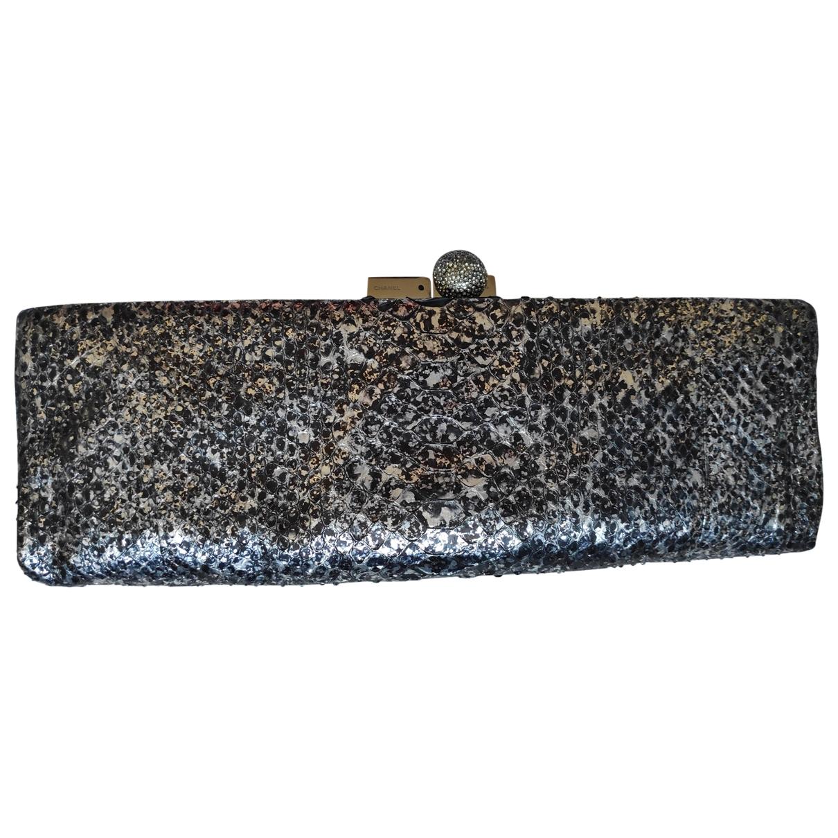 Chanel - Pochette   pour femme en python - metallise