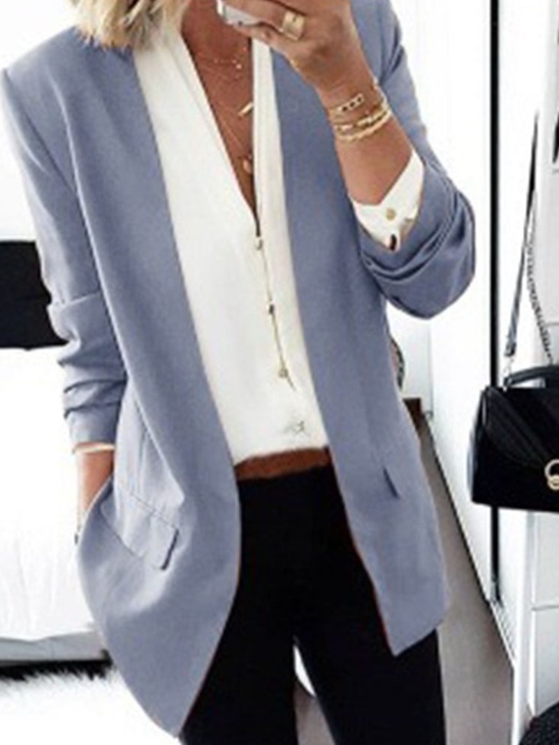 Ericdress Plain Notched Lapel Long Sleeve Mid-Length Regular Casual Blazer