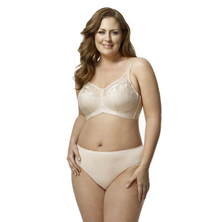 Elila Embroidered Microfiber Softcup Full Coverage Bra, Dd , Beige