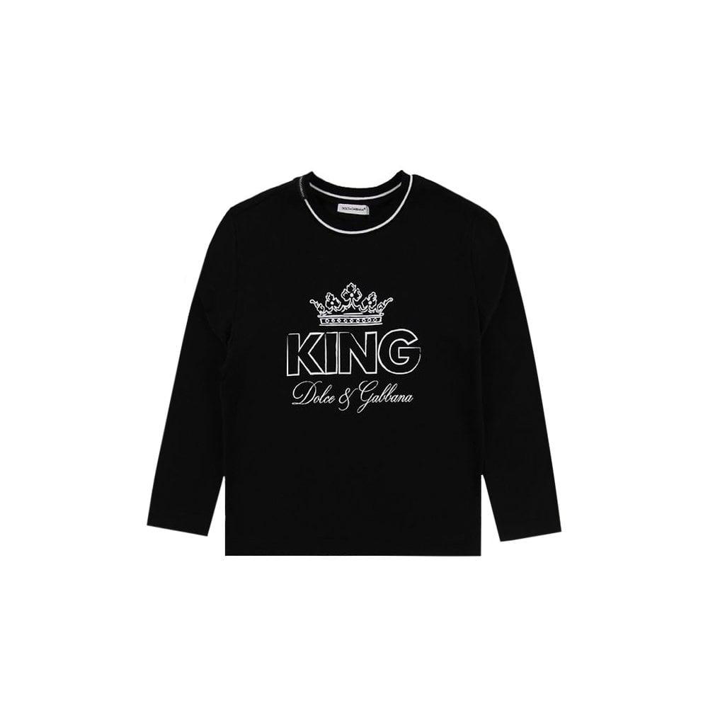 Dolce & Gabbana Kids King T-shirt Colour: BLACK, Size: 10 YEARS