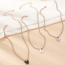 3 piezas collar con mariposa con diamante de imitacion