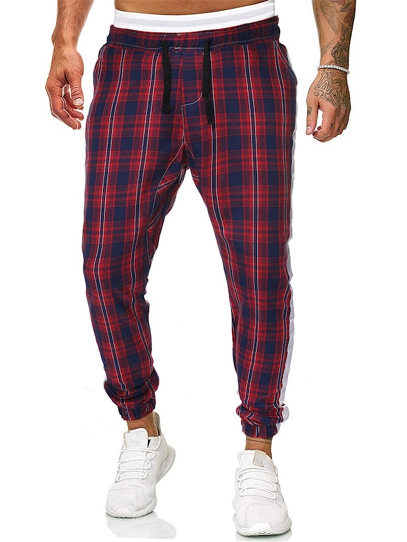 Ericdress Plaid Print Mid Waist Men's Casual Pants
