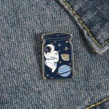 Brosche mit Astronaut Planet Design