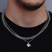 2pcs Men Letter Charm Necklace