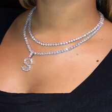 Rhinestone Letter Layered Necklace