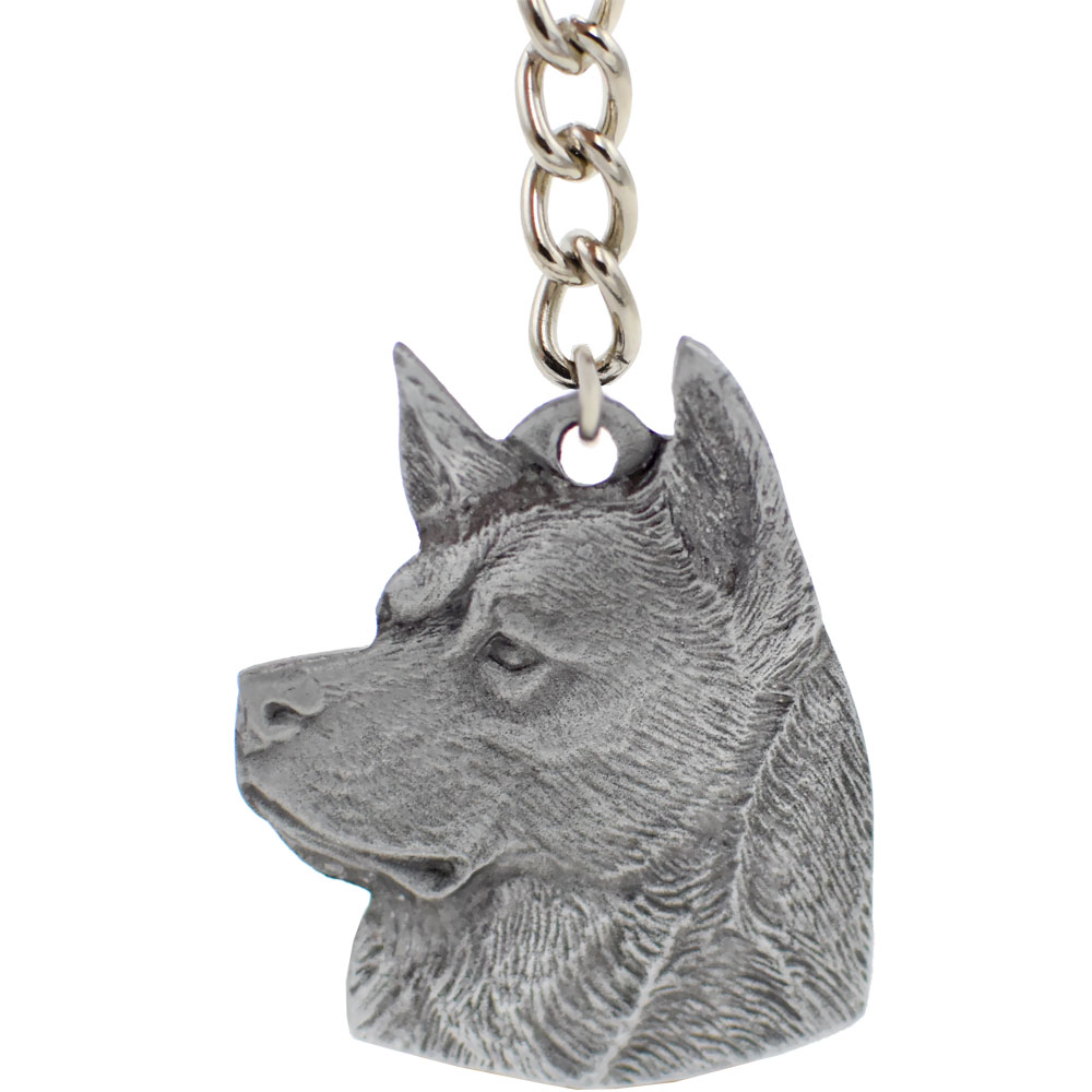 Dog Breed Keychain USA Pewter - Akita (2.5