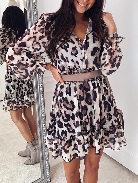 Yoins Lace-up Design Ruffle Trim Shirring Leopard V-neck Long Sleeves Dress