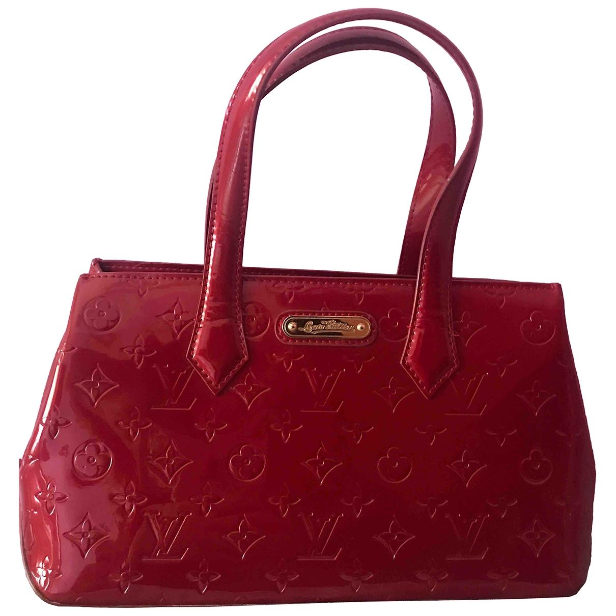 Louis Vuitton - Sac a main Wilshire pour femme en cuir verni - bordeaux