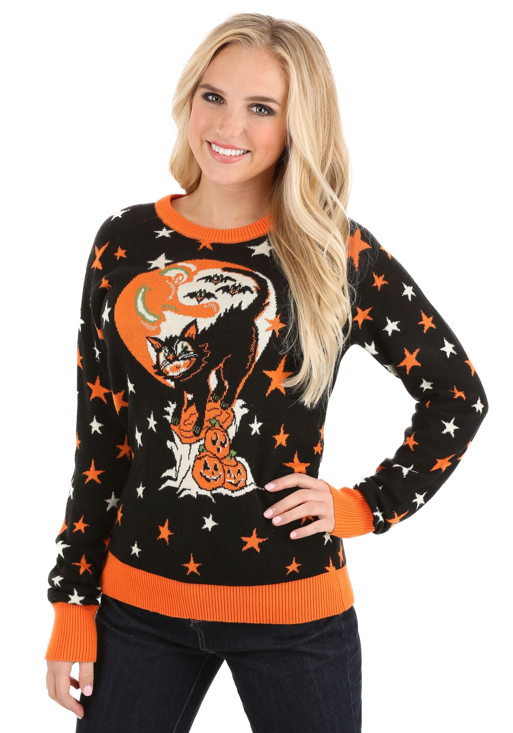 Vintage Halloween Cat Ugly Halloween Sweater for Adults
