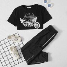 Top mit Buchstaben und Motorrad Muster & Hose Set mit Kontrast Bindung und seitlichen Taschen