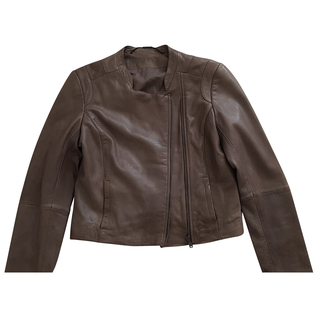 Non Signé / Unsigned \N Leather Leather jacket for Women 36 FR