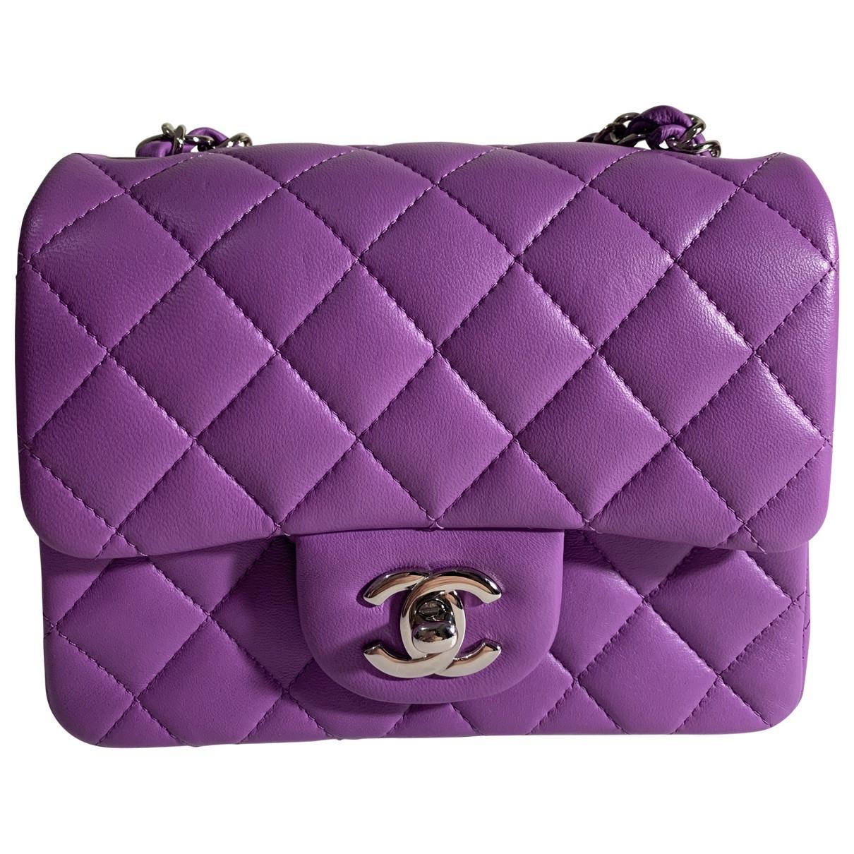 Chanel Timeless/Classique Handtasche in  Lila Leder