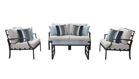 Lexington LEXINGTON-05c-BEIGE 5-Piece Aluminum Patio Set 05c with 1 Left Arm Chair  1 Right Arm Chair  2 Club Chairs and 1 Coffee Table - Ash and