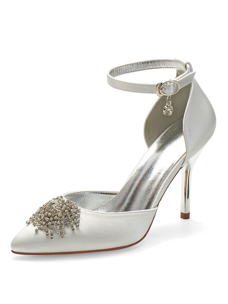 Milanoo Wedding Shoes Satin Deep Purple Pointed Toe Rhinestones Stiletto Heel Ankle Strap Bridal Shoes