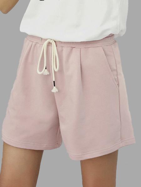 Yoins Nude Pink Drawstring Waist Casual Shorts