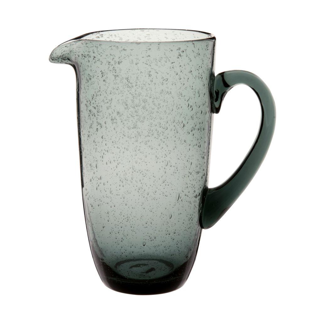 Karaffe aus Blaeschenglas, graublau 1l