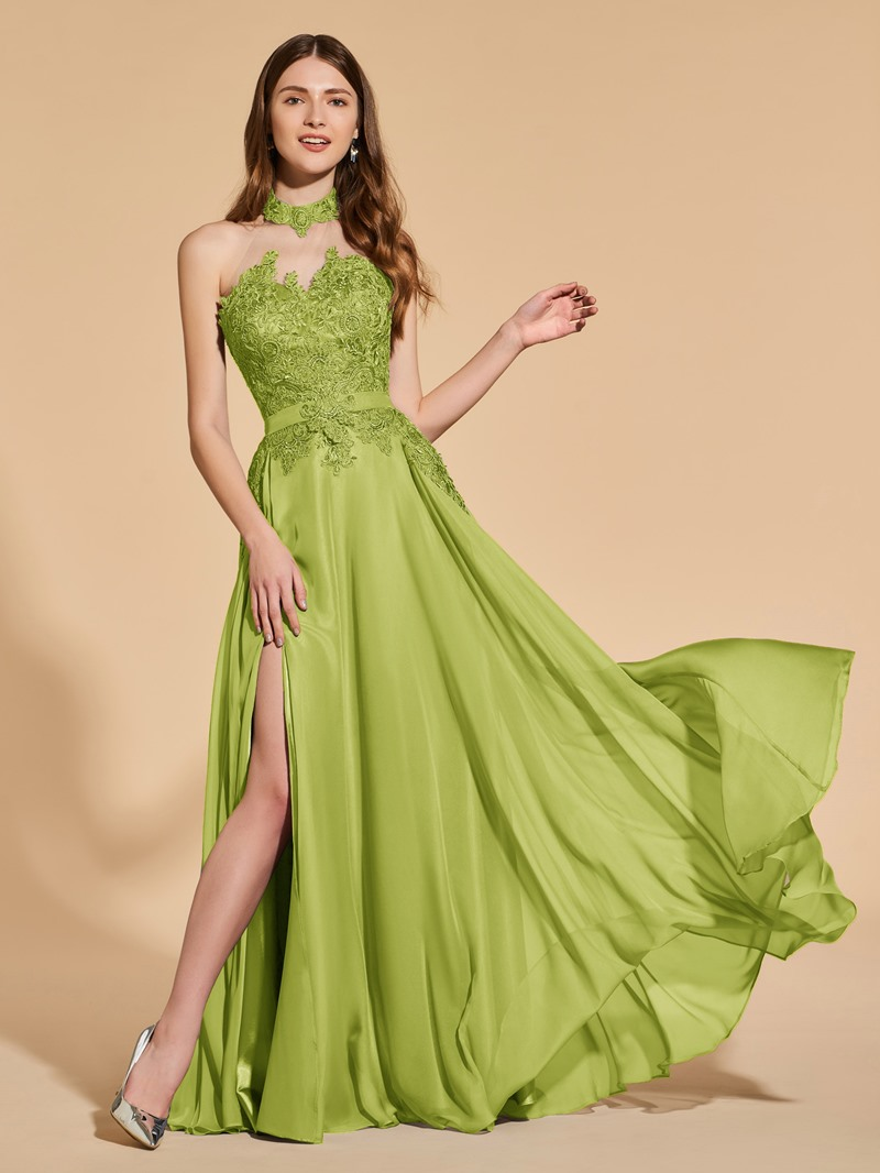 Ericdress Halter Split Front Appliques Prom Dress